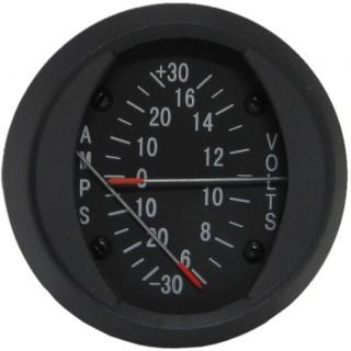SWIFT GAUGE DUAL 2 INCH ROUND AMMETER / VOLTMETER +/-30A / 6-16V NON-TSO